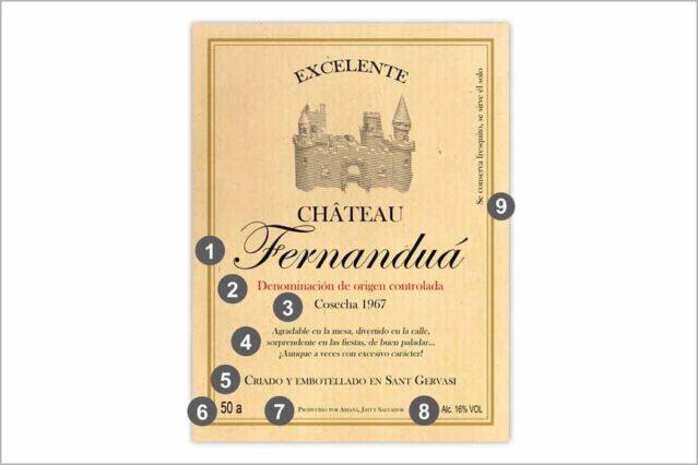 Etiqueta de vino francés