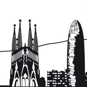 skyline de barcelona para producir en vinilo de corte