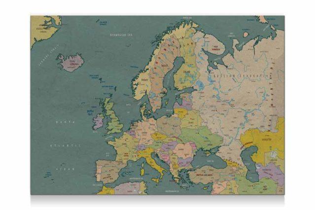 Mapa de Europa vintage