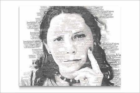 Fotocollage adjetivos realizado con imagen y tipografía