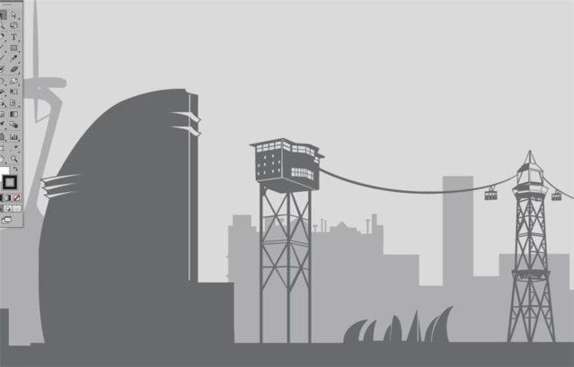 Vinilo impreso skyline de Barcelona