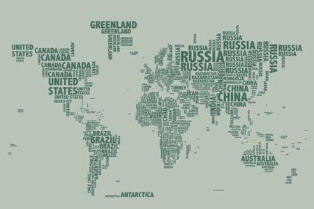 Mapa tipográfico verde con soporte
