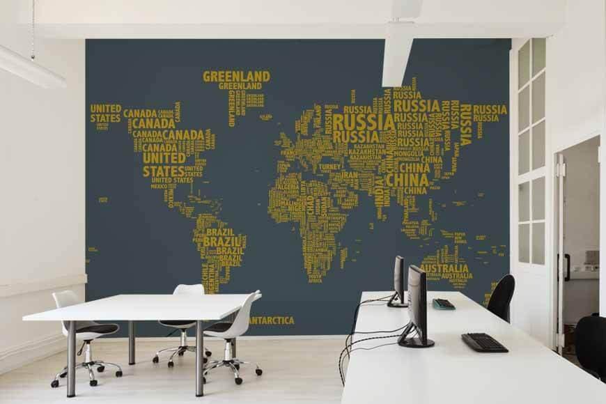 Mapa tipográfico marino mural