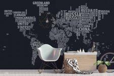 mapa tipográfico negro mural