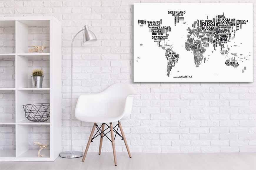 Mapa tipográfico blanco con soporte