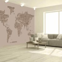 Mapa tipográfico beige mural