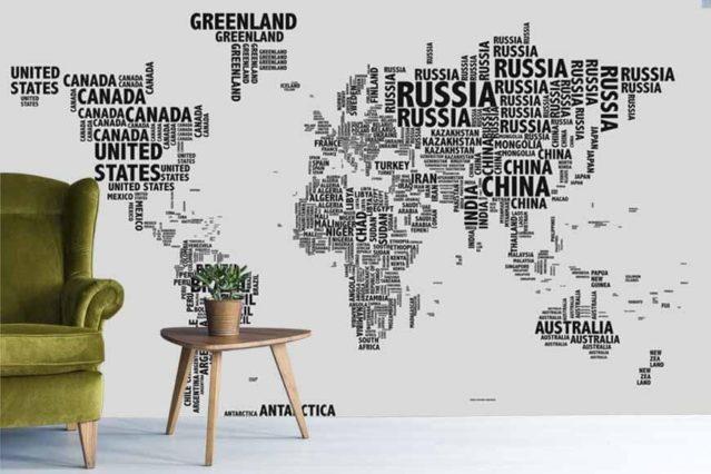 Mapa tipográfico blanco mural