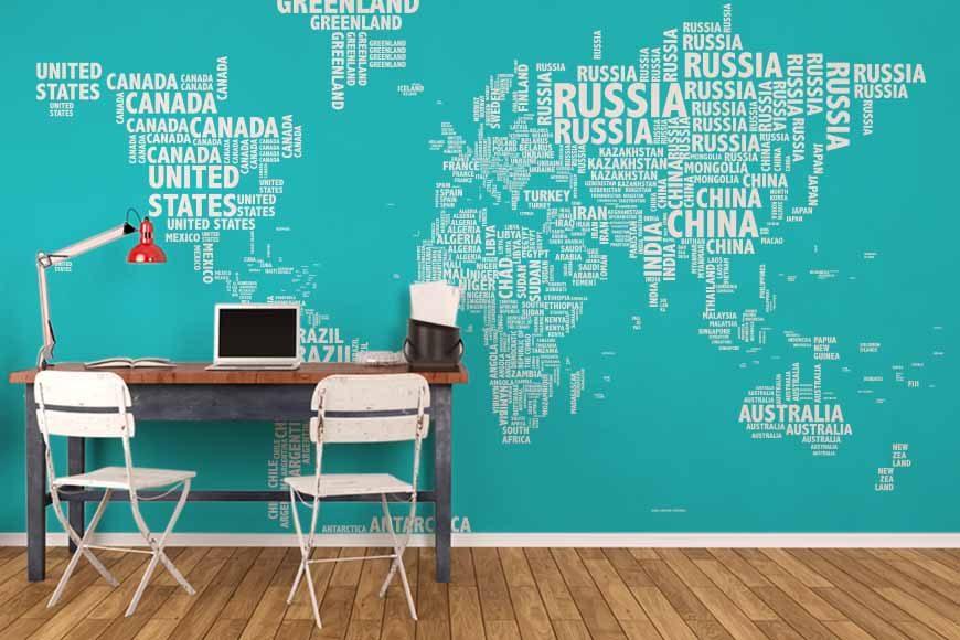 Mapa tipográfico blue mural