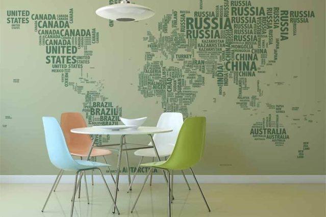 mapa tipográfico verde mural