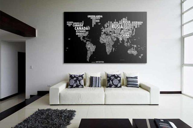 Mapa tipográfico negro con soporte