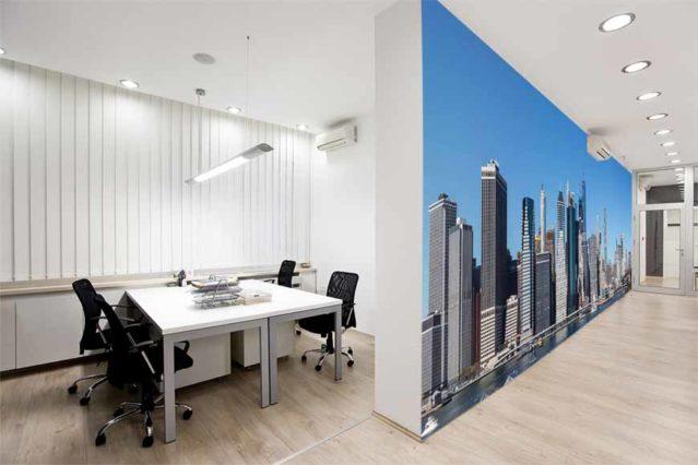 Oficina con vinilo NYC