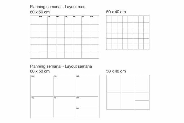 Los dos tipos de planning semanal para la pizarra magnética de vidrio