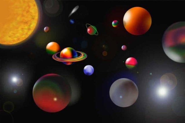 Vinilo con planetas