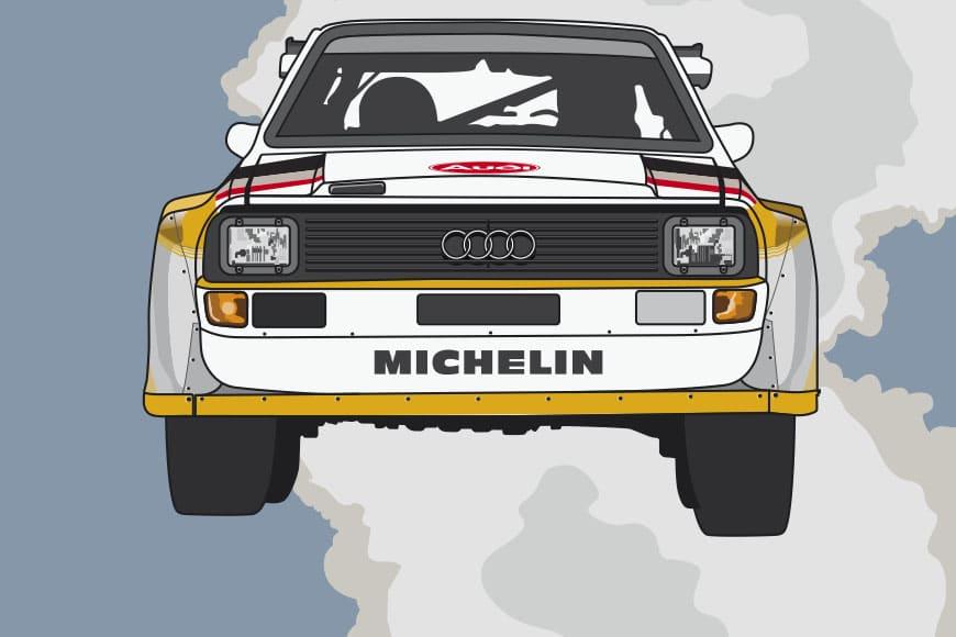 Póster del Audi Quattro en el Rally 1000 Lagos