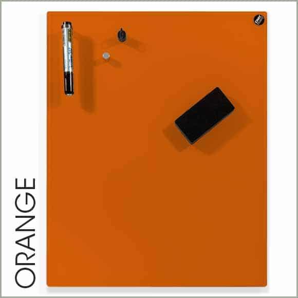 pizarra de cristal naranja