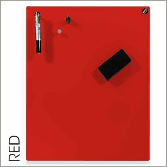 pizarra de cristal roja