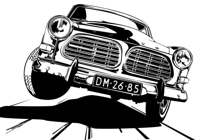 Volvo 122 estilo cómic