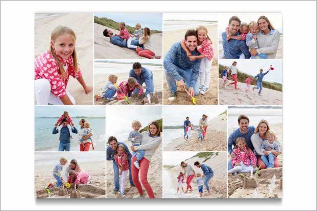 Composición con las mejores fotos de tu familia o amistades para hacer un gran regalo.