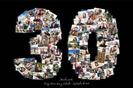 Una composición con fotos superpuestas que forman el número del aniversario, acompañada de una dedicatoria