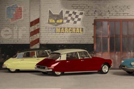 Detalle de garaje decorado con vinilo de varios Citroën DS